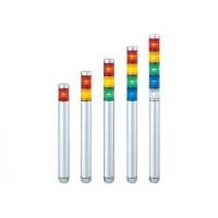은색 바디와 소형 디자인의 슬림한 LED 타워, 30mm (1-1/4인치) 직경, 바디 길이 220mm.